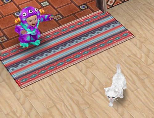 ものすごい形相で子猫を追いかけるキャンディーモンスター(The Sims フリープレイ)
