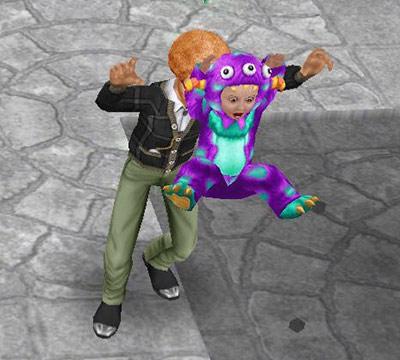 シムに驚かされて飛び跳ねるキャンディーモンスター(The Sims フリープレイ)