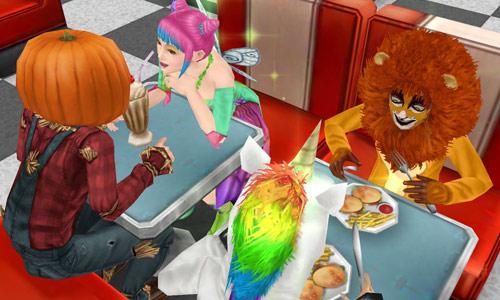 ハロウィン仮装で楽しそうに食事する小学生とティーンたち:ライオン、ユニコーン、妖精、カボチャ(The Sims フリープレイ)