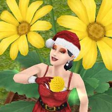 巨大ヒナギクで花集めを楽しむシム(The Sims フリープレイ)
