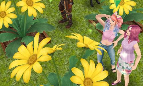 巨大ヒナギクを見上げるシムたち(The Sims フリープレイ)