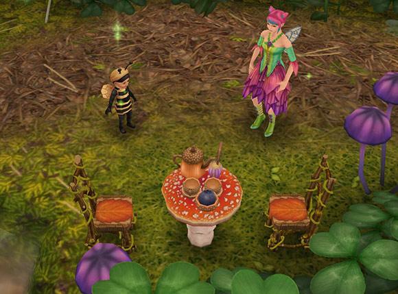 魔法の熱帯雨林「小さなティータイム」前に集合した、ハチ姿の幼児シムとフェアリー姿のティーンシム(The Sims フリープレイ)