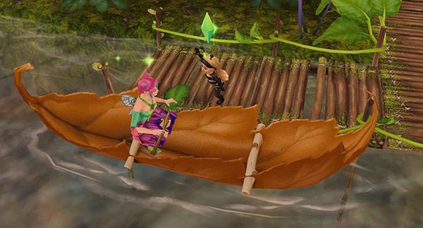 魔法の熱帯雨林「穴あき葉っぱのカヌー」に乗るティーンシムと、乗れずにだだをこねる幼児シム(The Sims フリープレイ)