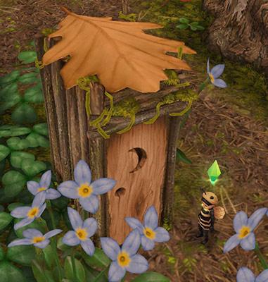 切り株のバスルームにやってきた幼児シム(The Sims フリープレイ)