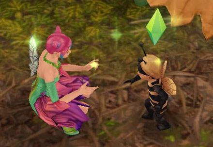 かくれんぼを始める幼児シムとティーンシム(The Sims フリープレイ)