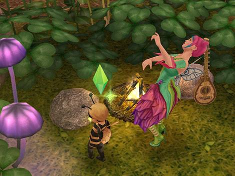 魔法の熱帯雨林「パチパチと燃える焚き火」の前でずっこけるティーンシムと幼児シム(The Sims フリープレイ)