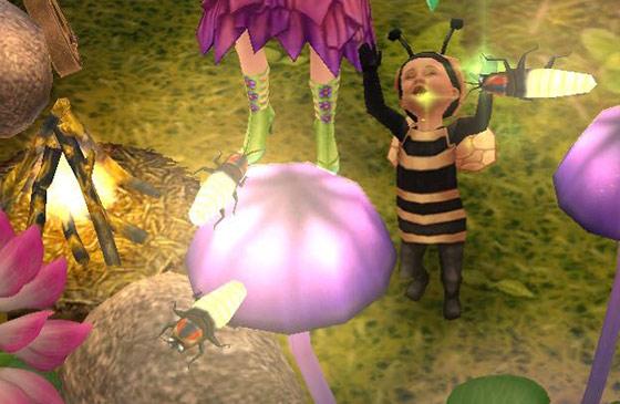 魔法の熱帯雨林で蛍にバイバイする幼児シム(The Sims フリープレイ)