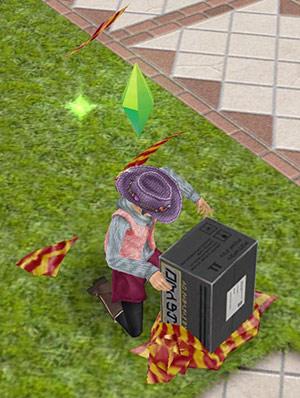 5周年記念ギフトボックスを夢中で破り開ける小学生シム(The Sims フリープレイ)