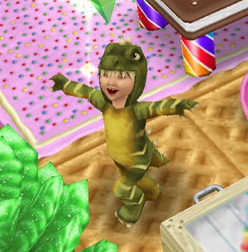 恐竜の着ぐるみを着て喜ぶ幼児シム(The Sims フリープレイ)