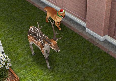 ブチトナカイの後をついて歩く犬(The SIms フリープレイ)