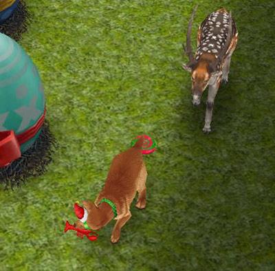 ブチトナカイの前でおもちゃ遊びをする犬(The Sims フリープレイ)
