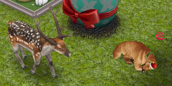 ブチトナカイの目の前ですやすや眠る犬(The Sims フリープレイ)