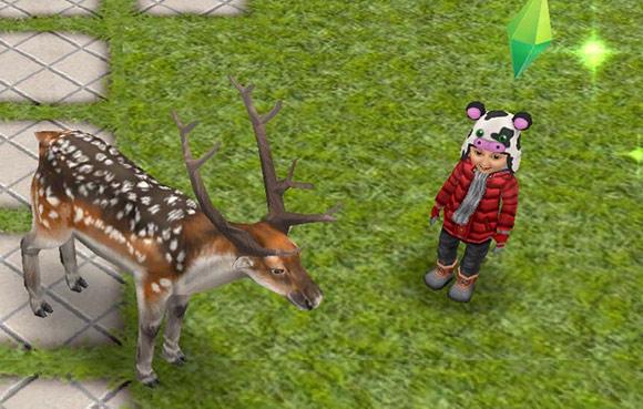 ブチトナカイと幼児シムのご対面(The Sims フリープレイ)