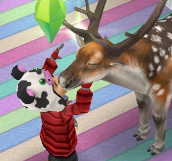 幼児シムに癒されるブチトナカイ(The Sims フリープレイ)