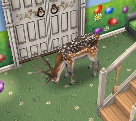 草柄の床を食べようとするブチトナカイ(The Sims フリープレイ)