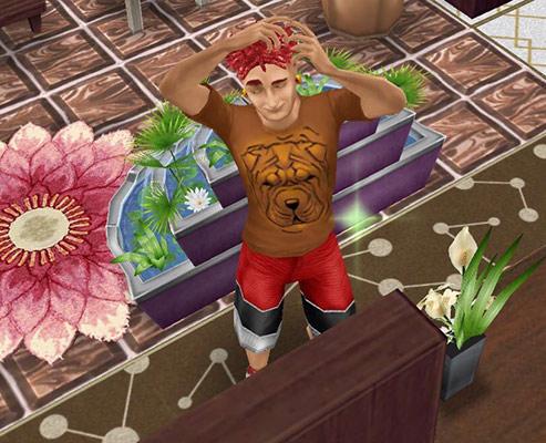ハイフェイドのショートドレッドヘアを入念にチェックする男性シム(The Sims フリープレイ)
