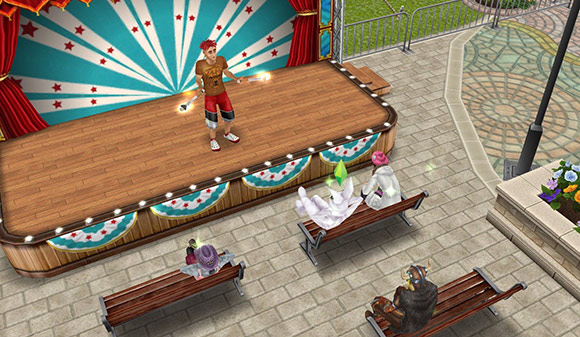 ジャグリングのクラブを持ち、舞台の上でお客さんに挨拶する、ショートドレッドヘアの男性シム(The Sims フリープレイ)