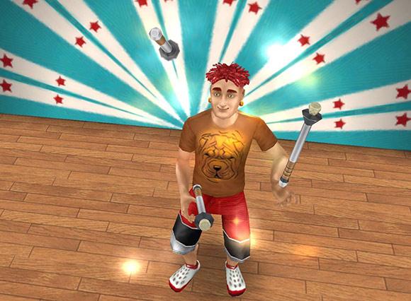 無邪気な笑顔でジャグリングをする、ショートドレッドヘアの男性シム(The Sims フリープレイ)