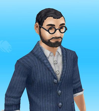 シーザーカットっぽい髪型に濃いヒゲをもつ、メガネ姿の大学教授風男性シム(The Sims フリープレイ)