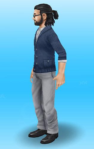 ミディアムヘアの後ろ結びハーフアップヘアの男性シム(The Sims フリープレイ)