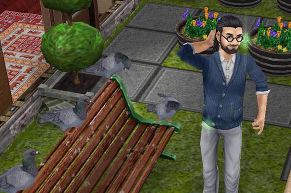 イメチェンしたての後ろ結びハーフアップヘアを、鳩に見せる男性シム(The Sims フリープレイ)