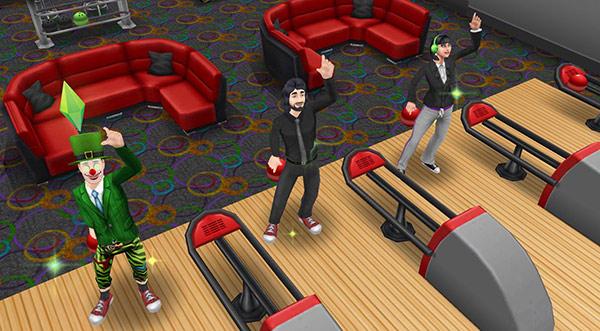 ボーリング場で笑顔で手を振るシム3人(The Sims フリープレイ)
