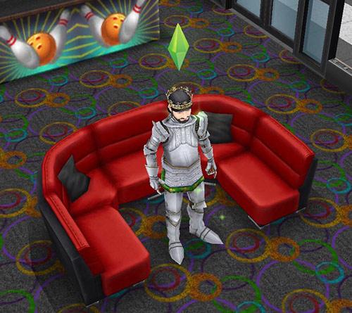 ボーリング場で席を陣取る王様シム(The Sims フリープレイ)
