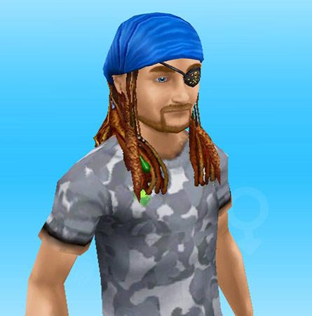 眼帯とバンダナ付きのロングドレッドヘアを身につけた海賊シム(The Sims フリープレイ)
