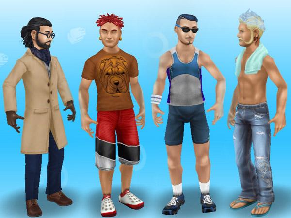 カリスマ理容師ヘアスタイルでイメチェンした男性シム4人(The Sims フリープレイ)