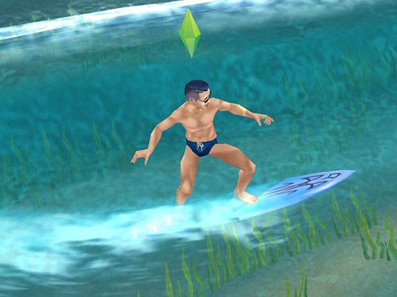 カリスマ理容師ヘアスタイルのハードパート+フェイド+ベリーショート・ポンパドールにビキニ姿で、サーフィンを楽しむ男性シム(The Sims フリープレイ)