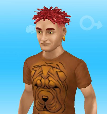 カリスマ理容師ヘアスタイルのショートドレッド赤に、ボルドーマスティフ犬のTシャツを着た男性シム(The Sims フリープレイ)
