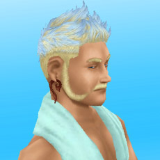 カリスマ理容師の髪型イベントでゲットした髪型(ソフトモヒカン)を身につけ、クールな視線をおくる男性シム(The Sims フリープレイ)