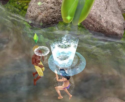 大きな水しぶきをあげて沈む女性シムと、その水をかぶる男性シム(The Sims フリープレイ)