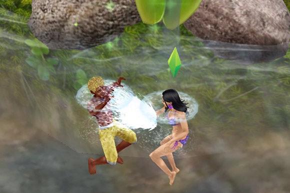 立ち泳ぎしながら水遊び。女性シムが男性シムに水をかける(The Sims フリープレイ)