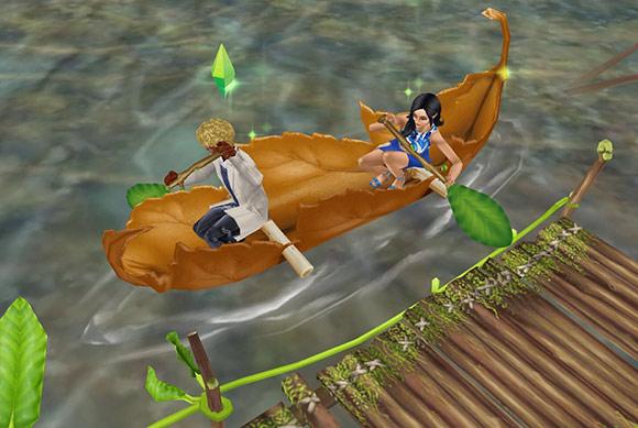 穴あき葉っぱのカヌーに乗って小枝の桟橋を離れ、葉っぱのオールで仲良く漕ぎ出す男女シム(The Sims フリープレイ)