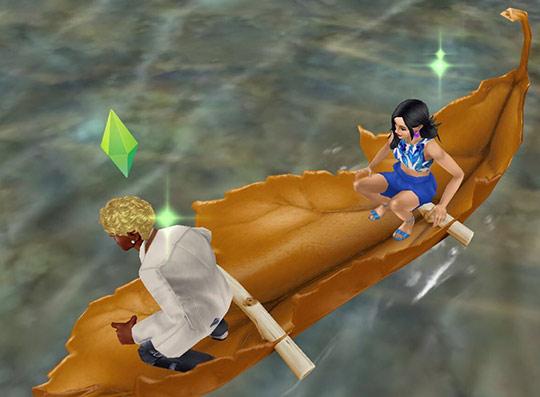 泉の中ほどで漕ぐのをやめ、カヌーの上で立ち上がろうとする男性シム(The Sims フリープレイ)