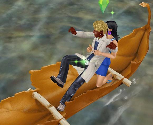穴あき葉っぱのカヌーの上、うっかりよろける男性シム。それを思わず受け止める女性シム(The Sims フリープレイ)