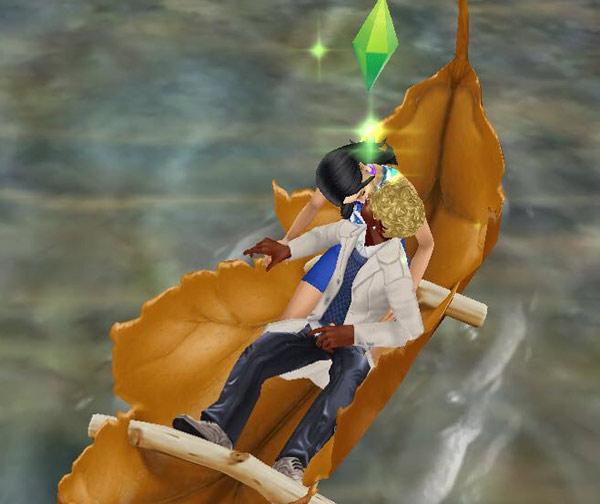 穴あき葉っぱのカヌーの上で、男性の背中越しにキスをする男女シム(The Sims フリープレイ)