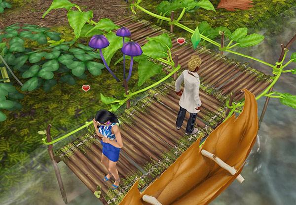 穴あき葉っぱのカヌーから降りた桟橋で、恥ずかしそうに背をむけ合う男女シム。隠しきれない赤いハートが溢れている(The Sims フリープレイ)