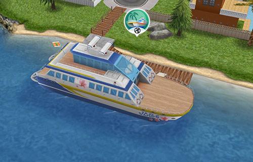 スペシャルエリアへ渡れるクルーザー、船旅号(The Sims フリープレイ)