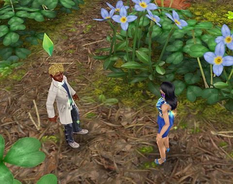 魔法の熱帯雨林でばったり出会った男女シム(The Sims フリープレイ)
