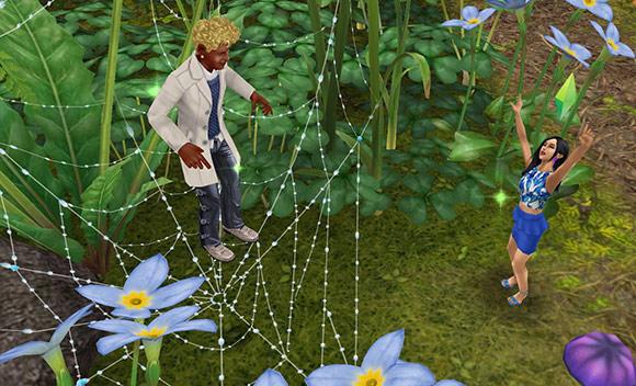 クモの巣トランポリンで遊んではしゃぐ男女シム(The Sims フリープレイ)