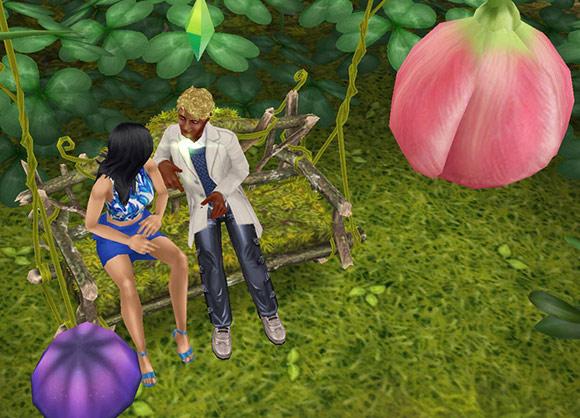 花びらのブランコで、いちゃつく気まんまんで親しげに、女性シムの隣に座る男性シム(The Sims フリープレイ)