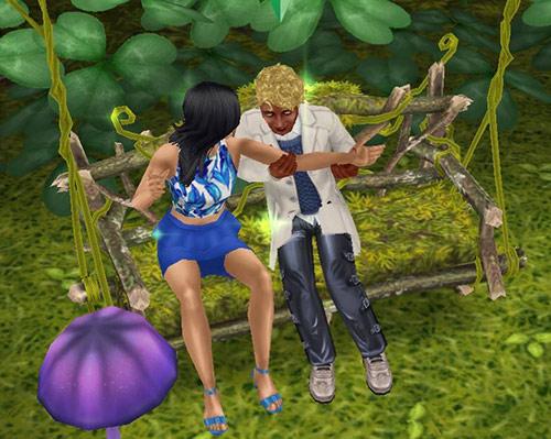 花びらのブランコで、何かありげに女性の腕をつかむ男性シム(The Sims フリープレイ)
