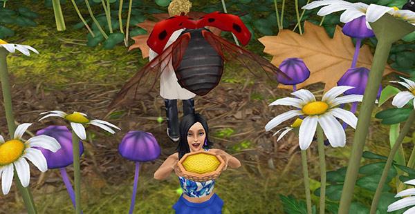 飛んでくるテントウムシに、エサを差し出し待ち構えながら喜ぶ女性シム(The Sims フリープレイ)
