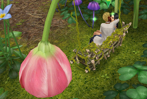 花びらのブランコで、熱烈なキスに夢中の男女シム(The Sims フリープレイ)