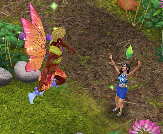 魔法の羽で、妖精になって舞い上がった男性シムに、歓声をあげる女性シム(The Sims フリープレイ)