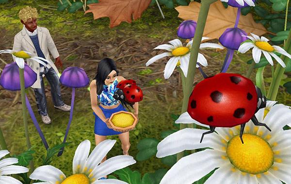 楽しそうにテントウムシにエサをあげる女性シムと、それを後ろから眺める男性シム(The Sims フリープレイ)