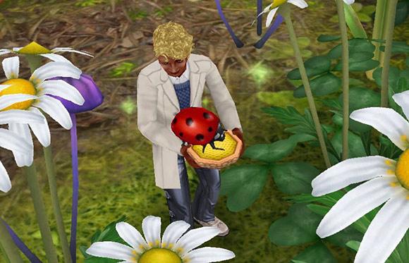 テントウムシにエサをあげながら、浮かない顔の男性シム(The Sims フリープレイ)