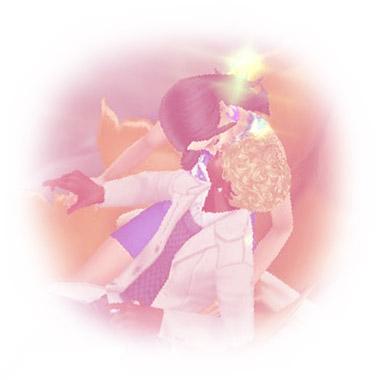 男性シムと女性シムの思い出。穴あき葉っぱのカヌーの上での、振り返りキス(The Sims フリープレイ)